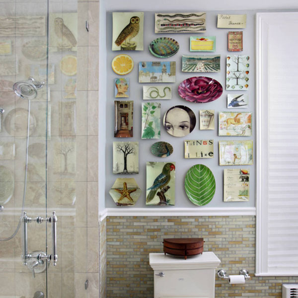 add colorful art in the bathroom to bring in more color