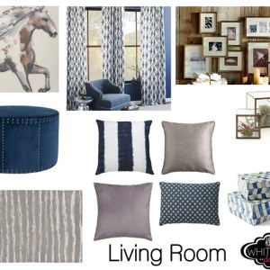 blue and gray living room transitional style