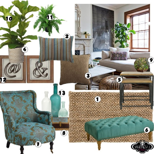 living room design natural elements with neutral colors and a pops of turquoise