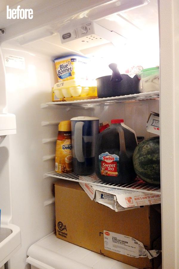 unorganized refrigerator