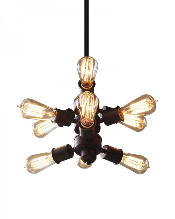 9 lights industrial pendant lights