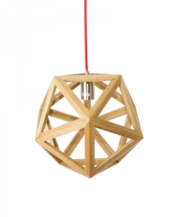 modern style polyhedron shape wooden pendant light