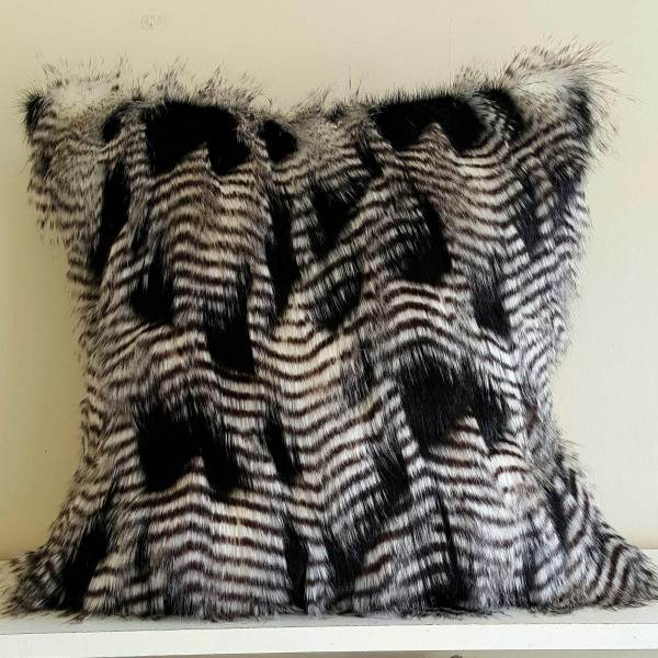 black and white feather faux fur pillow cover