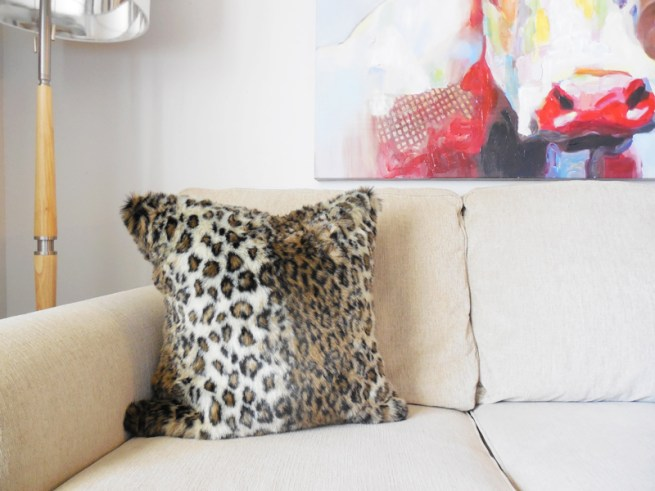leopard print faux fur pillow cover