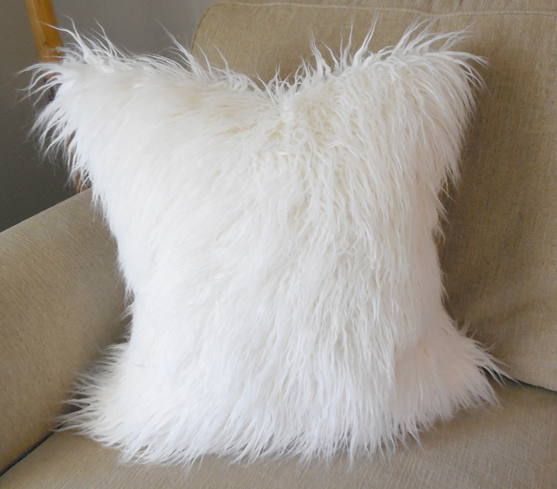 Off White Mongolian Faux Fur Pillow Cover Whitney J Decor