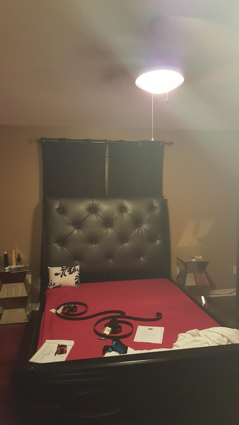 black, eclectic bedroom - before