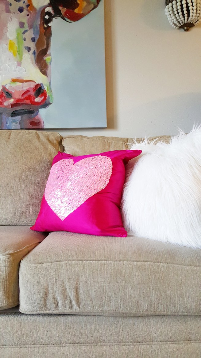 hot pink sequined heart pillow