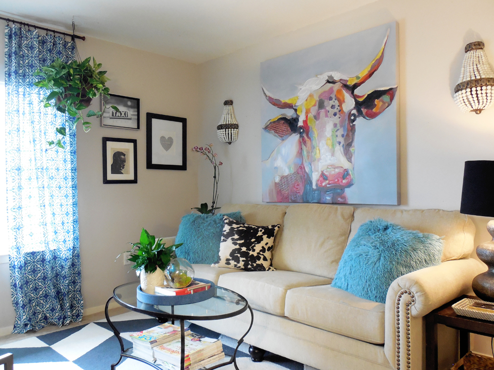 eclectic, living room