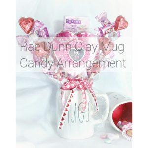 clay mug candy arrangement