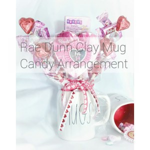 clay mug candy arrangement