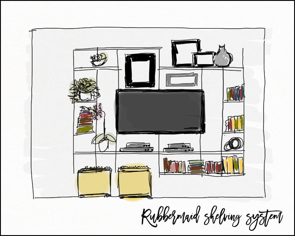rubbermaid shelving wall