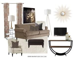neutral living room | zebra art