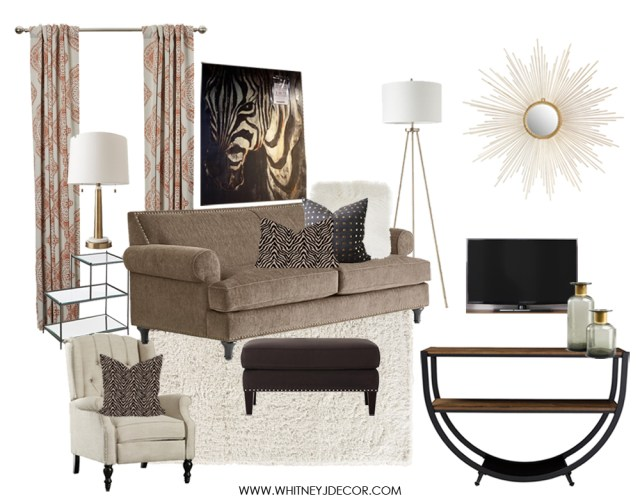 neutral living room | zebra art