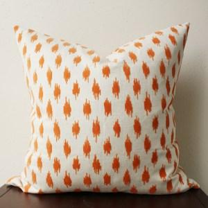 cream orange velvet pillow | orange velvet spots | eclectic decor | orange living room | orange bedroom