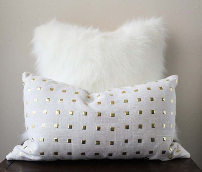 polar white faux fur pillow