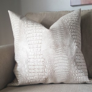 taupe faux leather pillow cover | croc faux leather pillow | croc pillow | taupe decor | eclectic decor | taupe leather | living room decor | bedroom decor