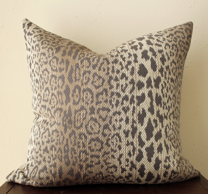 taupe leopard print pillow cover