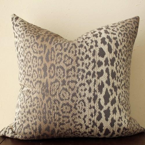 taupe leopard print pillow | brown leopard print pillow | brown animal print | modern leopard print | eclectic decor | boho decor |