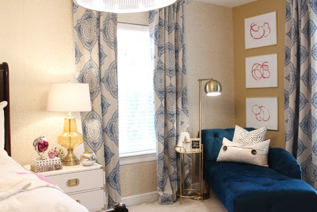 blue bedroom | pink bedroom | transitional bedroom | glam bedroom | pink diy art | how to transform a master bedroom | white campaign dresser | blue chaise | nate berkus bedding
