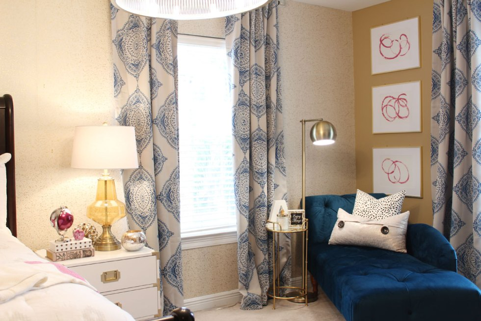 blue bedroom | pink bedroom | transitional bedroom | glam bedroom | pink diy art | how to transform a master bedroom | white campaign dresser | blue chaise | nate berkus bedding