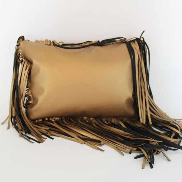 oversized fringe gold metallic pillow