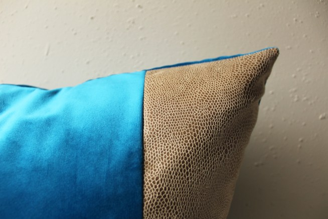 azure blue velvet pillow with snakeskin detail