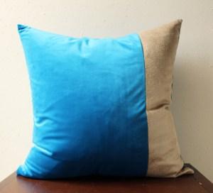 azure blue velvet pillow with snakeskin detail