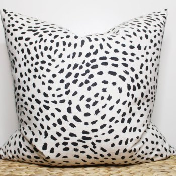 black and white dotted pillow   black and white dalmatian print   black and white bedding   black and white pillow