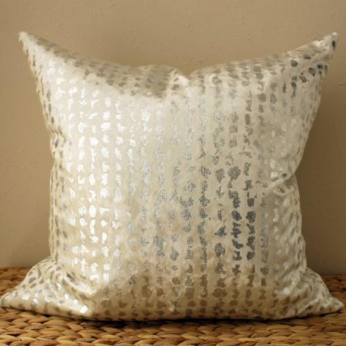 white velvet pillow | silver metallic pillow | white metallic pillow | metallic silver pillow | silver velvet pillow | cream velvet pillow | cream metallic pillow