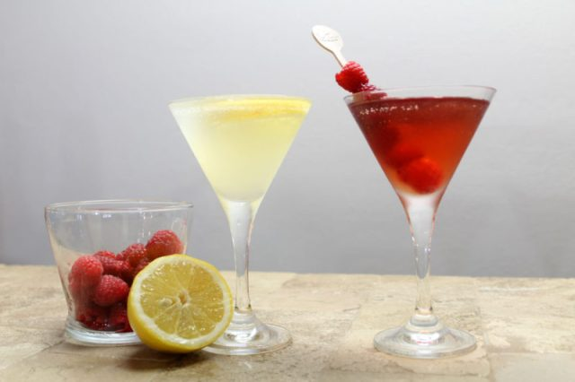 martini recipes | lemon drop martini | raspberry cosmo martini | justini cocktails | bar cart essentials