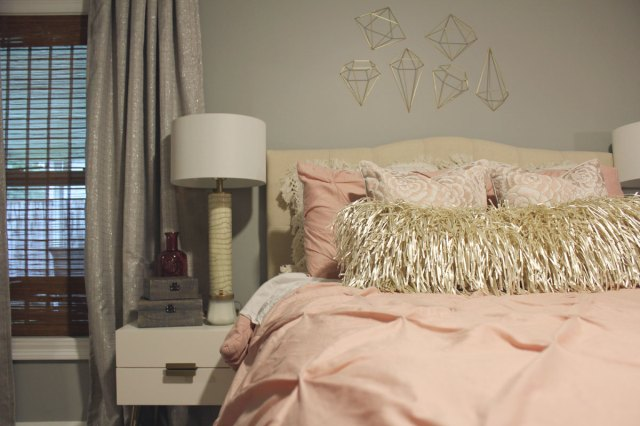 Before & After: Feminine Pink and Gray Bedroom Transformation