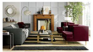 avec bergamot purple chair with brass legs