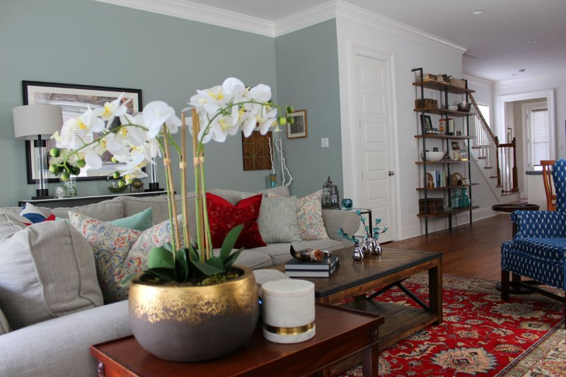 Red, Blue, And Green Transitional Living Room Reveal