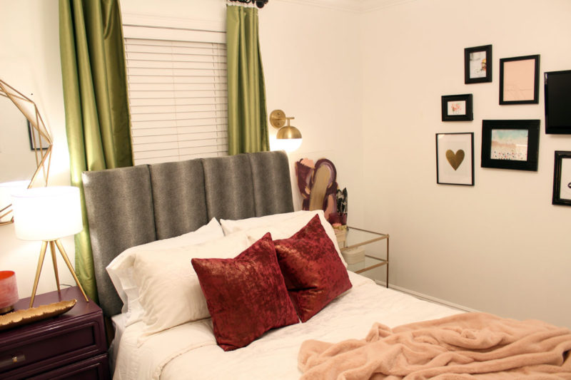 white and purple guest bedroom