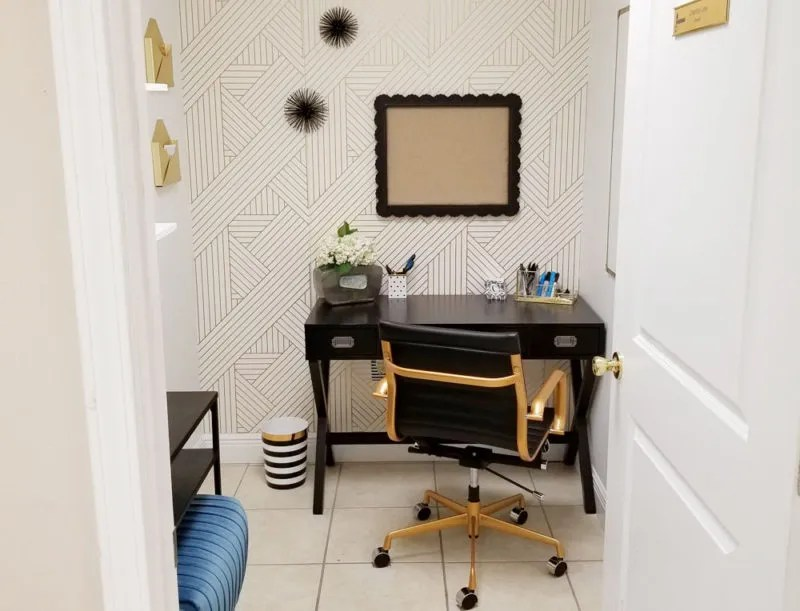 A Tiny Black White And Gold Office Makeover Glam Look Under 50 Sqft