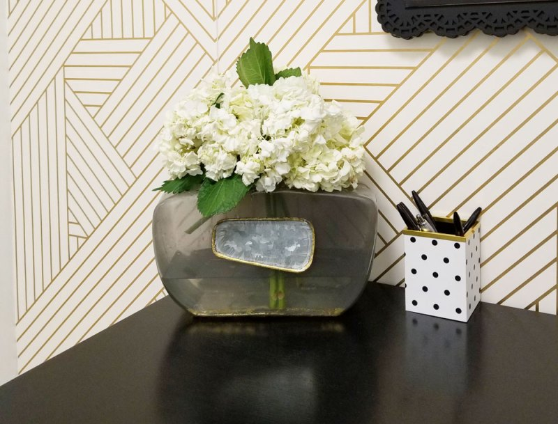 tiny black, white, and gold office transformation | glam office under 50 sqft | tiny office design | small office design | small home office | tiny home office | blue home office | real estate decor | whitney j decor | new orleans decor | new orleans interior designer | black interior designer | nola homes | nola interior designer | new orleans decorator | new orleans interior designer