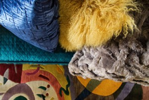 colorful pillows and rug