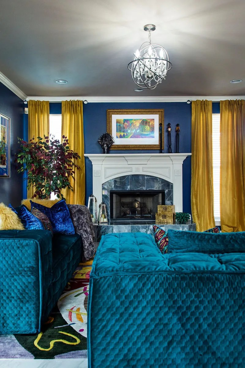 blue, green, and gold living room