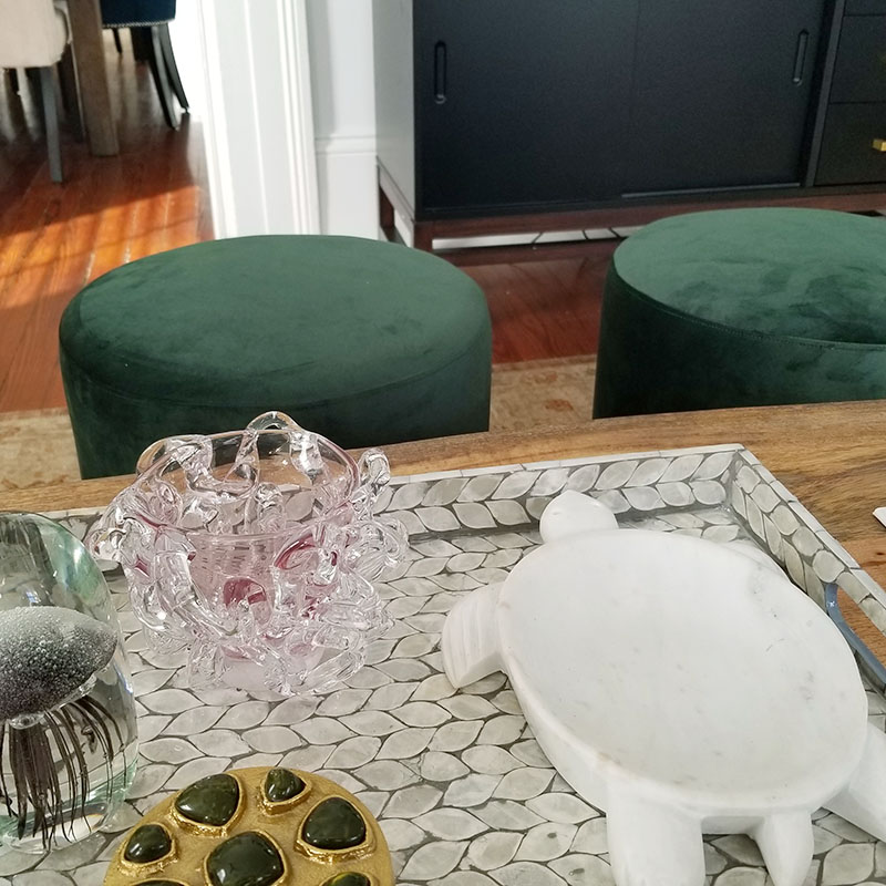 green coffee table decor