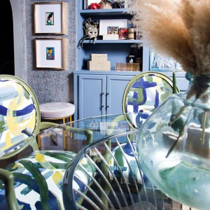 bold and eclectic blue dining room