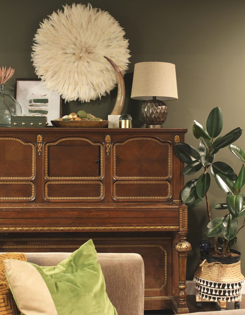 living room decor, styling around a vintage piano