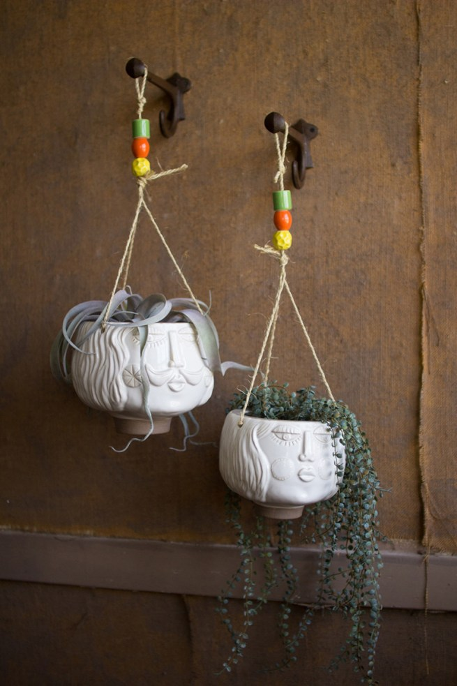 ceramic white hanging face planters