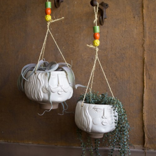 ceramic white hanging face planters