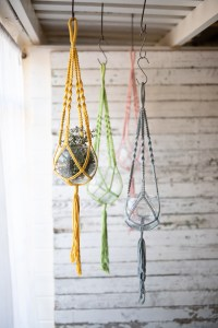 hanging glass vases with cotton macrame