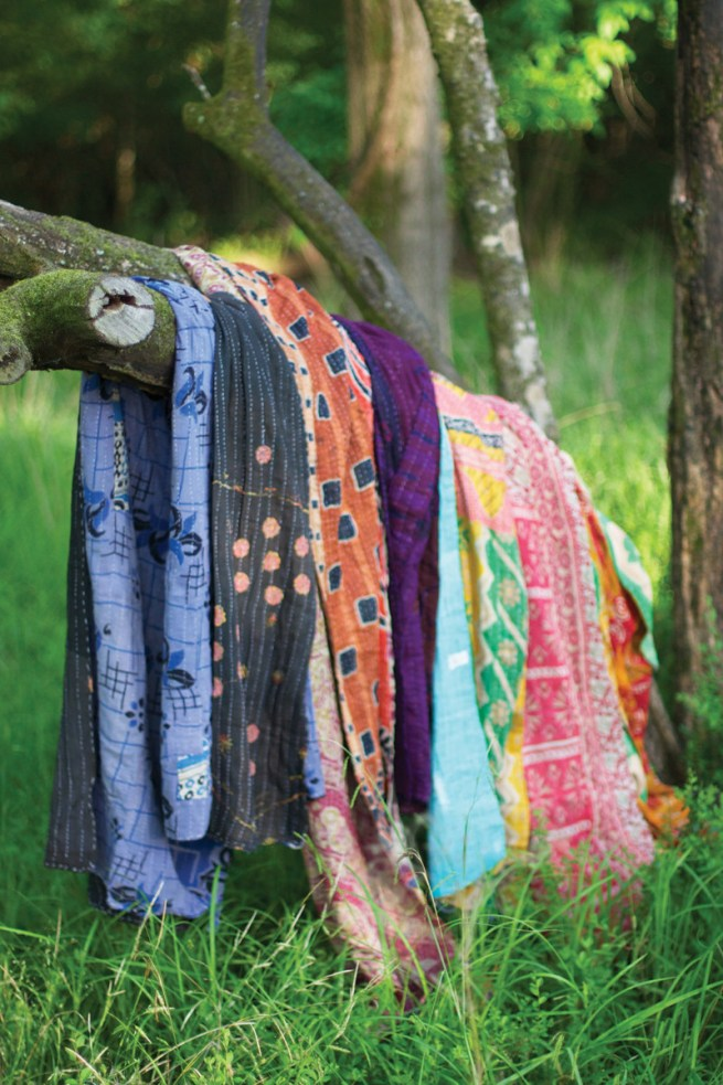 recycled kantha throw