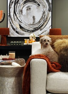 fall decor inspiration - multipoo dog on burnt orange throw with green walls and large white and black art in the background