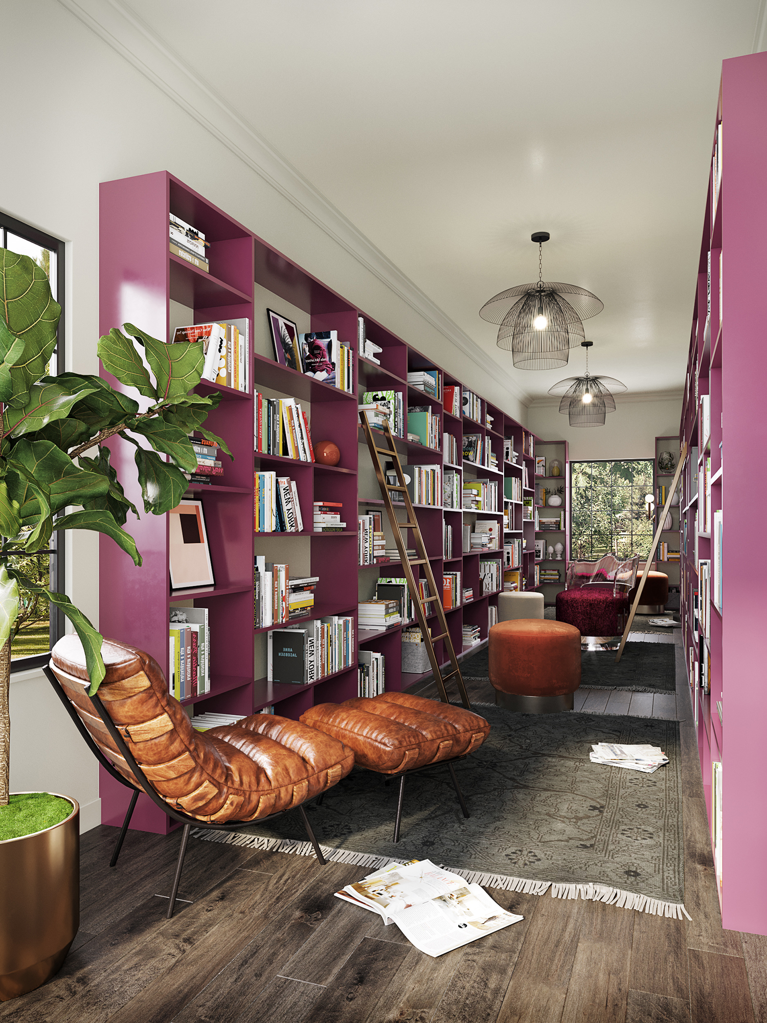 narrow pink library with lots of natural light and brown leather lounge chair | new orleans interior designer