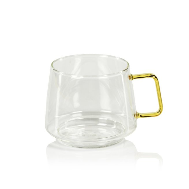 glass coffee cup with yellow handle