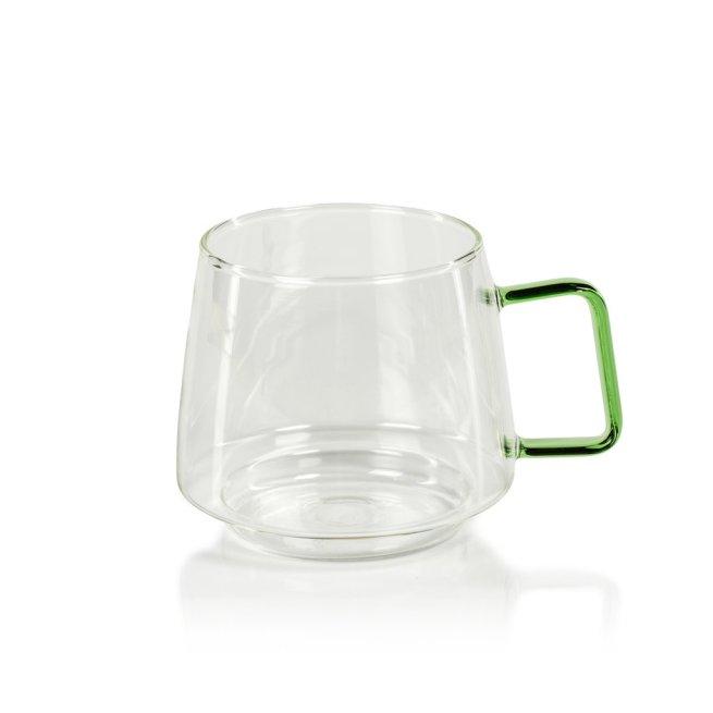 glass coffee mug with green handle