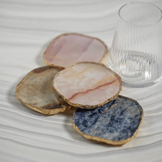 Agate Marble Glass Coaster with Gold Rim